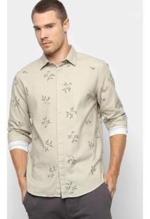 Camisa Foxton Manga Longa Estampa Folhagem Masculina - Masculino-Bege