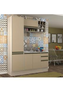 Cozinha Compacta 3 Peças 5 Portas Safira Siena Móveis Crema Tx/Capuccino Tx
