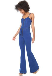 Macacão Jeans Oh Boy Flare Pespontos Azul