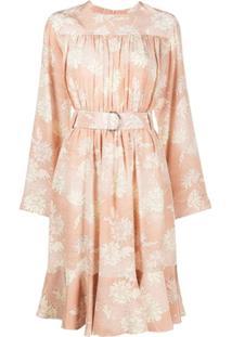 Chloé Vestido Floral Com Cinto - Rosa