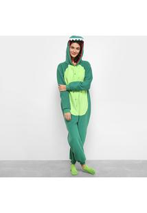 Pijama Kigurumi Dragão 3D Feminino - Feminino-Verde