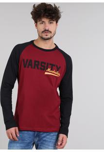 "Camiseta Masculina Raglan ""Varsity"" Manga Longa Gola Careca Vinho"