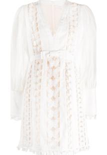 Zimmermann Vestido Com Aplicação De Renda - Branco