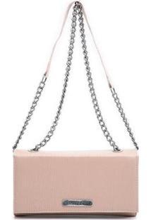 Bolsa Clutch Transversal Alça Corrente Dia A Dia Feminina - Feminino-Rosa Claro