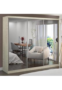 Guarda-Roupa Casal 3 Portas Com 3 Espelhos 100% Mdf 1904E3 Marfim Areia - Foscarini