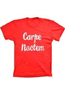 Camiseta Lu Geek Manga Curta Carpe Noctem Vermelho