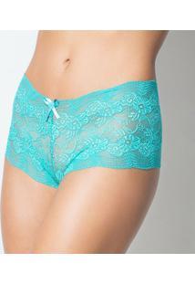 Calcinha Click Chique Caleçon Com Lacinho - Feminino-Azul