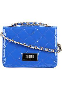 Bolsa Santa Lolla Matelassê Alça Corrente Feminina - Feminino-Azul Royal