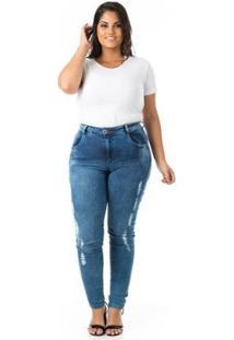 Calça Jeans Tradicional Skinny Plus Size Confidencial Extra Feminina - Feminino-Azul