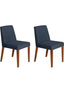 Conjunto Com 2 Cadeiras Infinity Veludo Azul Marinho