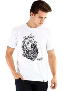 Camiseta Ouroboros Manga Curta Coração De Pedra Masculina - Masculino-Branco