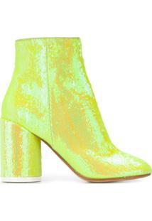 Mm6 Maison Margiela Ankle Boot Com Paetês - Amarelo