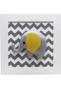 Quadro Decorativo Elefante Chevron Bebê Infantil Unissex Potinho De Mel Cinza
