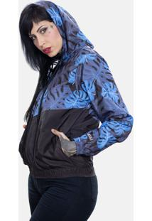 Jaqueta Corta Vento Chess Clothing Floral Azul