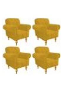 Kit 04 Poltronas Decorativas Dani Suede Amarelo - Amarena Móveis