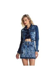 Jaqueta Jeans Osmoze Cropped 214123058 Azul