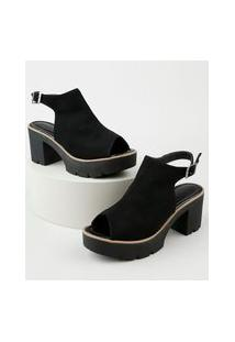 Sandal Boot Feminina Oneself Salto Médio Em Suede Preta
