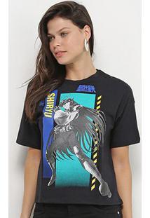 Camiseta Ellus 2Nd Floor Cavaleiros Do Zodíaco Shiryu Feminina - Feminino-Preto
