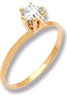 Anel Le Diamond Rosa Com Pingente De Zircônia Dourado