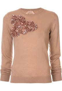 Nº21 Suéter Com Aplicação Floral - Neutro