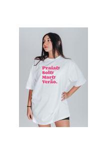 Camiseta Feminina Oversized Boutique Judith Praia Sol Mar Verão Branco