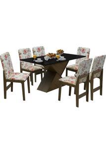 Conjunto De Mesa Com 6 Cadeiras Com Tampo Mdf Viena-Dobuê - Castanho / Preto / Vermelho Floral