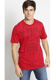 """Camiseta """"Música""""- Vermelha & Preta- Coca-Colacoca-Cola"""