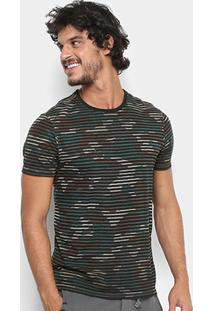 Camiseta Replay Camuflada Listras Masculina - Masculino-Verde Militar