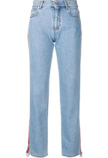 Msgm Calça Jeans Com Logo - Azul