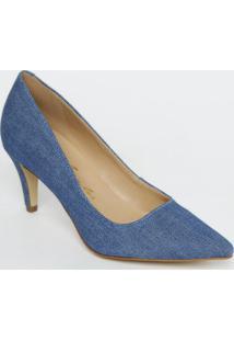 Scarpin Liso Com Recorte- Azul- Salto: 7Cmluiza Barcelos