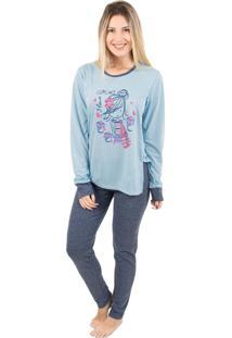 Pijama Bella Fiore Modas Calça Legging Paty Azul