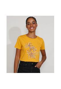 "Camiseta Feminina Manga Curta Seja Como Flor"" Decote Redondo Mostarda"""