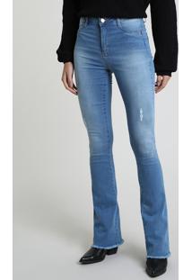 Calça Jeans Feminina Sawary Flare Cintura Alta Com Barra Desfiada Azul Claro