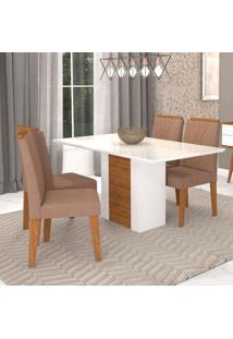 Conjunto De Mesa De Jantar Retangular Rafaela Com 4 Cadeiras Nicole Suede Savana E Savana