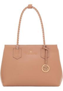 Bolsa Smart Bag Couro Bicolor - Feminino