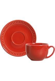 Xícara De Chá Sevilha Cerâmica 6 Peças Vermelho Porto Brasil