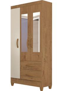 Guarda Roupa Real 3 Portas C/ Espelho Canelato Rústico/Natura Off White Atualle Móveis