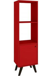 Estante Com 1 Porta Retrô Domus Alta Delmarco Móveis Vermelho