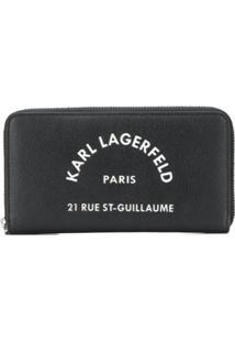 Karl Lagerfeld Carteira Continental Com Zíper E Logo - Preto