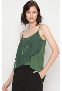 Blusa Com Recortes- Verde & Off White- Forumforum