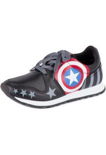 Tênis Disney Marvel Jogging Capitão America - Masculino-Preto