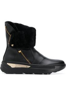 Baldinini Ankle Boot Com Forro De Pelo - Preto
