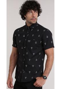 Camisa Estampada De Âncoras Preta