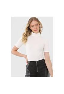 Blusa Calvin Klein Gola Alta Canelado Off-White