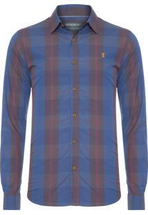 Camisa Masculina Xadrez Blue Stretch - Azul