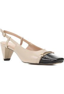 Scarpin Couro Shoestock Croco Salto Médio - Feminino-Preto+Bege