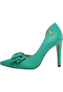 Scarpin Week Shoes Laço Verde
