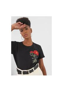 Camiseta Lança Perfume Bordado Floral Preta