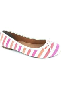 Sapatilha Bico Redondo Sapatoweb Feminina - Feminino-Listrado