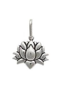 Pingente Prata Envelhecida Flor De Lotus - Unissex-Prata